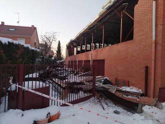 La nieve derrumba el muro del pabellón del colegio 'Giovanni Antonio Farina' de Azuqueca de Henares