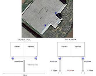 Obras de mejora en el depósito municipal de la carretera de Meco para instalar dos nuevas tuberías
