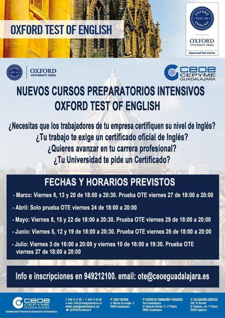 CEOE-CEPYME Guadalajara lanza los nuevos cursos intensivos preparatorios para el Oxford Test of English