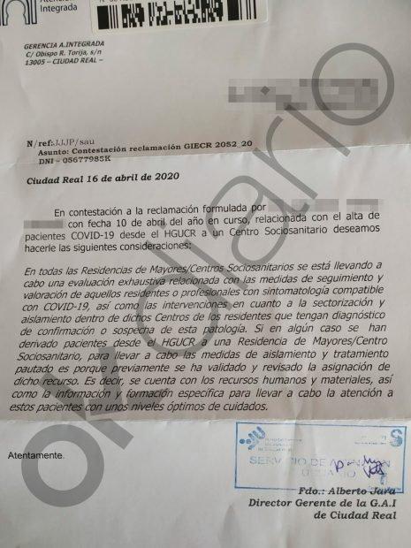 DENUNCIA DE UN FAMILIAR DE UNA FALLECIDA : Castilla-La Mancha derivó infectados de coronavirus de los hospitales a residencias... con internos sanos