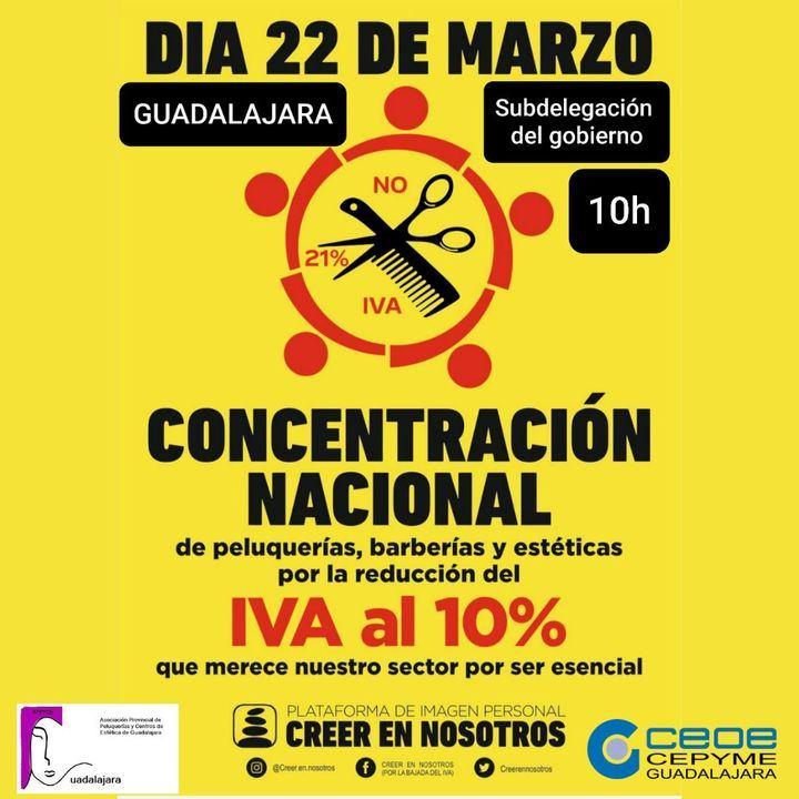 La Asocición Provincial de Peluquerías y Centros de Estética de Guadalajara se volverá a concentrar para pedir la BAJADA del IVA al 10%