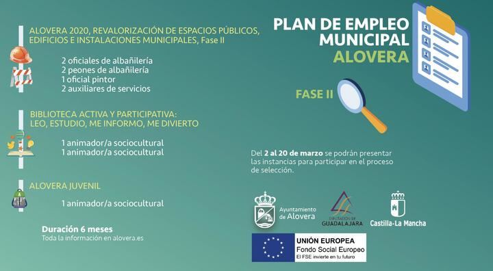 Diez puestos de trabajo se pueden solicitar ya en la segunda fase del Plan de Empleo de Alovera