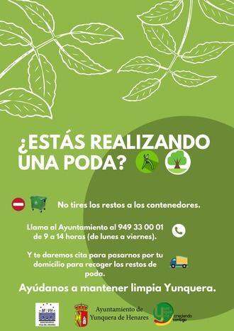 El Ayuntamiento de Yunquera de Henares pone en marcha un nuevo servicio de recogida de restos de poda a domicilio
