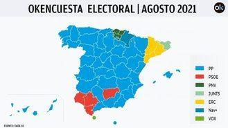 El PP consolida su mayoría absoluta holgada con Vox, el PSOE pierde 21 diputados y Cs en caída libre, apenas lograría el escaño de Arrimadas