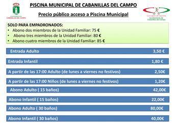 La Piscina Municipal de Cabanillas abrirá sus puertas el 1 de julio