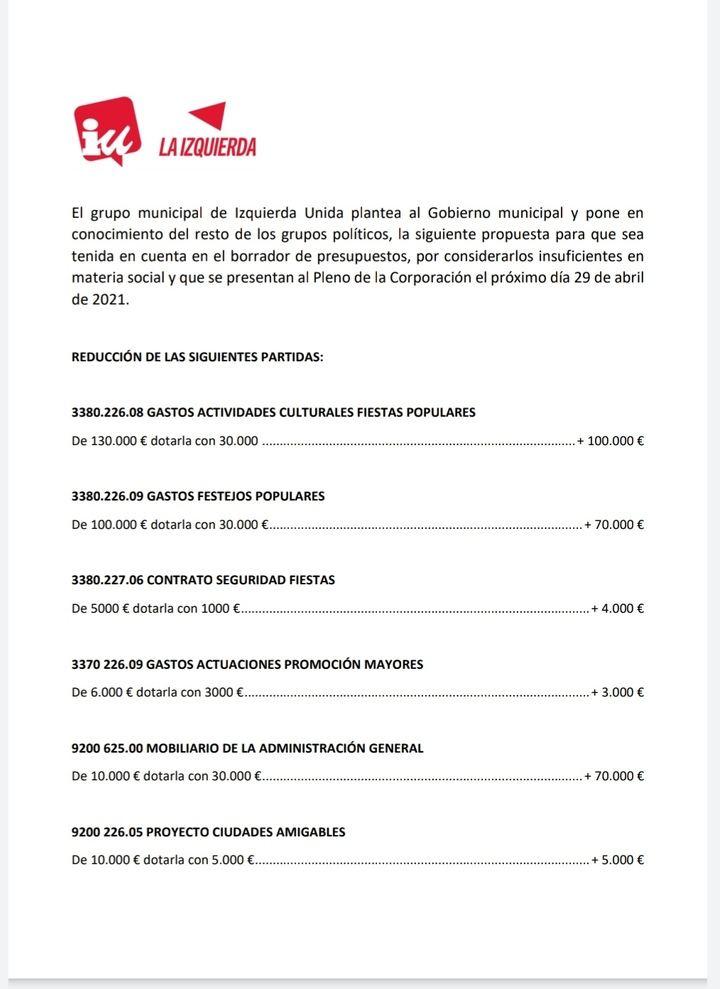 Izquierda Unida le hace una propuesta al proyecto de presupuestos que plantea el Gobierno de José Luis Blanco en Azuqueca