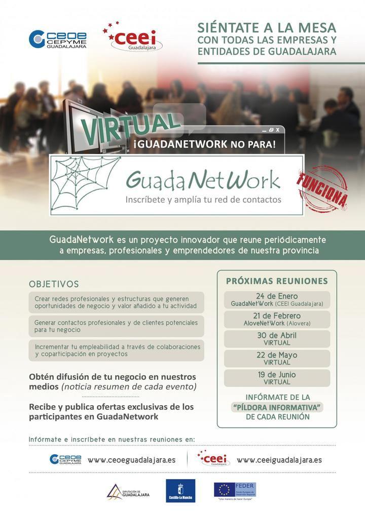 El próximo encuentro de GuadaNetWork virtual tendrá lugar el viernes 22 de mayo a las 10 horas