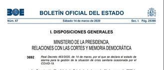 Consulta aquí el texto íntegro del Real decreto por el que se declara el estado de alarma en España por el coronavirus