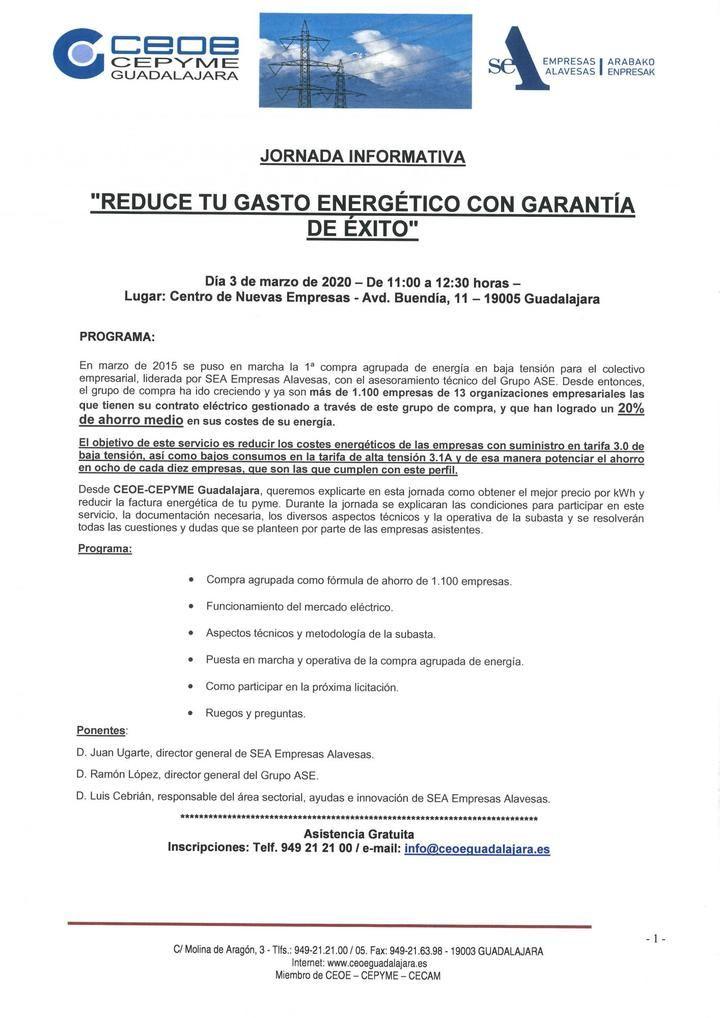 CEOE-CEPYME Guadalajara pondrá en marcha un sistema de compra agrupada para reducir el gasto energético de las empresas