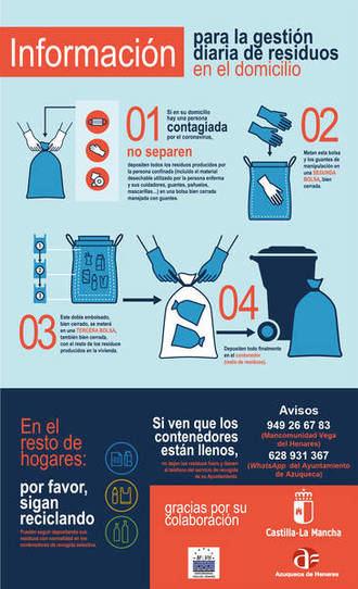 El Ayuntamiento de Azuqueca informa sobre la gestión diaria de residuos en el domicilio durante el confinamiento por COVID19