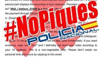 La Policía Nacional alerta de una campaña masiva de intentos de ciberestafa mediante sextorsión