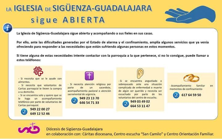 Más allá de Cáritas, la diócesis de Sigüenza-Guadalajara ofrece servicios de acompañamiento y de escucha
