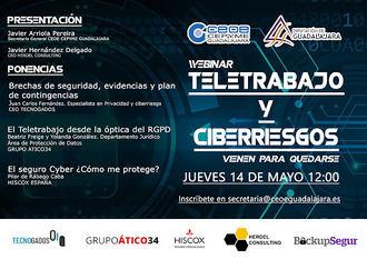 El Teletrabajo y los CiberRiesgos, el próximo Seminario Web de CEOE-CEPYME Guadalajara