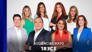 TRECE cierra el mes de mayo como primera opción del fin de semana y mantiene el liderazgo en las tardes de la TDT