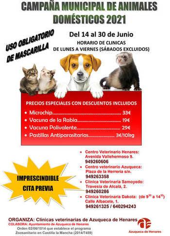 La campaña municipal de vacunación de animales domésticos en Azuqueca se hará entre el 14 y el 30 de junio