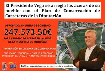 """El PP denuncia que el socialista Vega está haciendo de la Diputación de Guadalajara """"su cortijo político"""" utilizando el dinero de las carreteras de todos en su propio beneficio"""