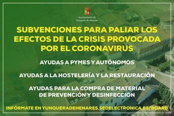 El Ayuntamiento de Yunquera de Henares pone en marcha las primeras AYUDAS para paliar los efectos de la crisis del coronavirus