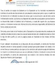 Comunicado de la Diputación de Guadalajara