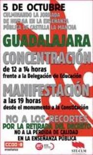 Como siempre, guerra de cifras. La Junta cifra el seguimiento de la huelga en Guadalajara en un 40%, los sindicatos en un 75% y los docentes en un 51,79%