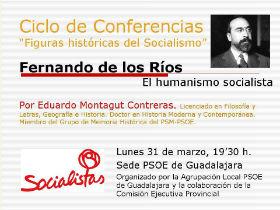 """Conferencia """"Fernando de los Ríos, el humanismo socialista"""", el próximo lunes en la sede del PSOE de Guadalajara"""