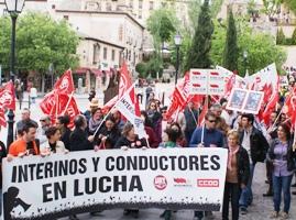 Unos 500 empleados públicos exigen en Toledo la readmisión de interinos y la retirada del Plan de RRHH de Conductores de la Junta