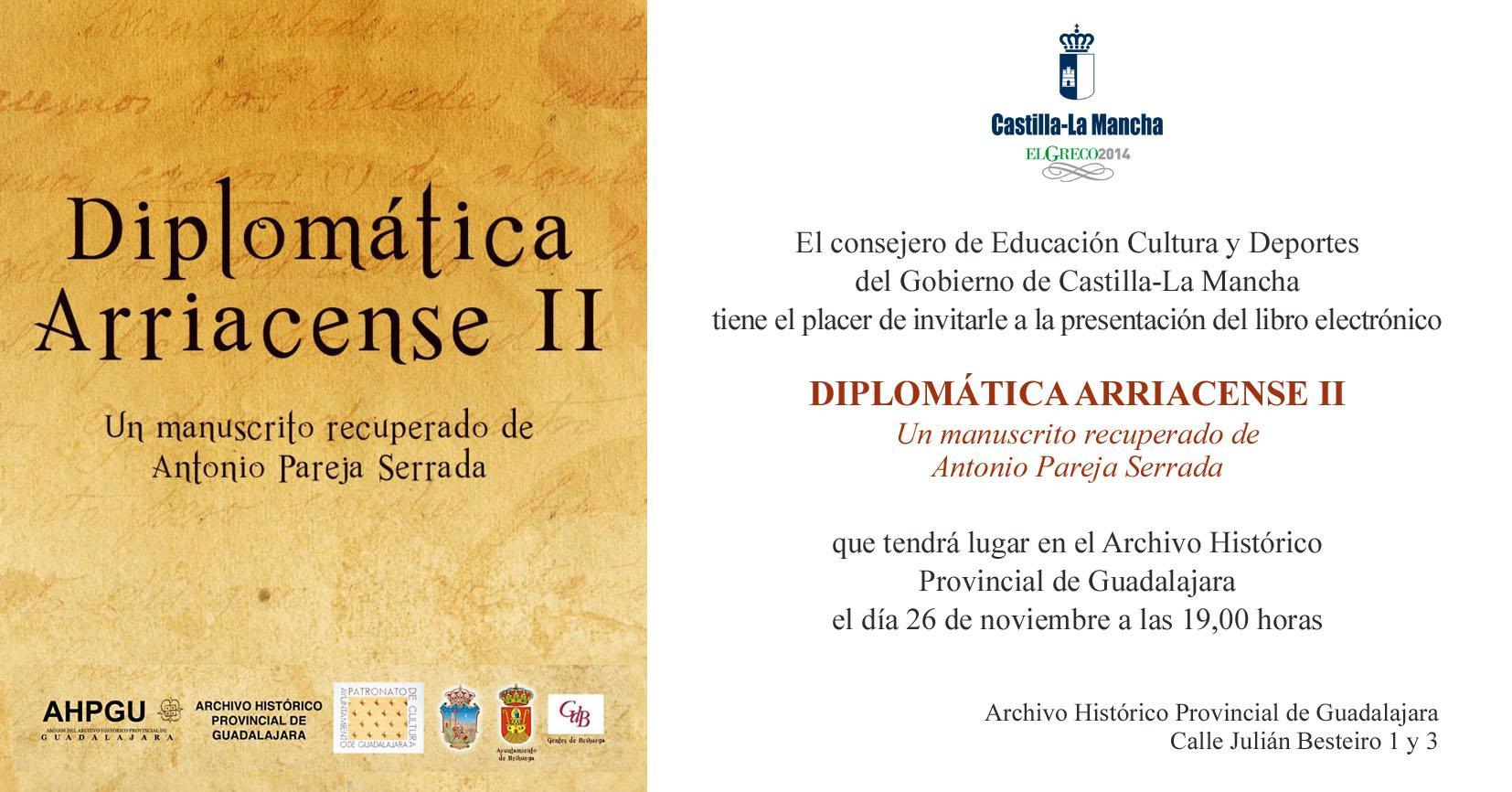 """El Archivo Histórico Provincial, escenario de la presentación del libro electrónico """"Diplomática Arriacense II"""""""