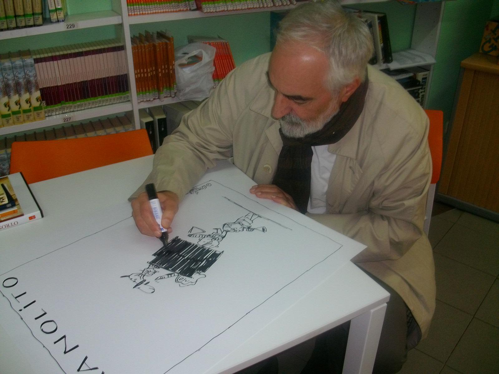 """El ilustrador de """"Manolito Gafotas"""" cede un dibujo a la asociación contra el cáncer de Alovera"""