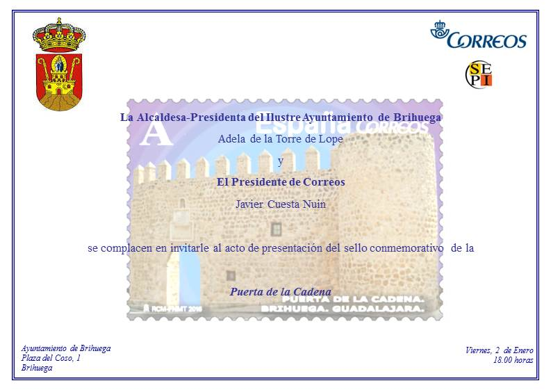 Correos presenta este viernes un sello dedicado a la 'Puerta de la Cadena' de Brihuega