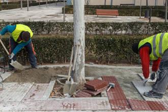 El Ayuntamiento realiza obras de mejora en aceras de varias calles de Aguas Vivas