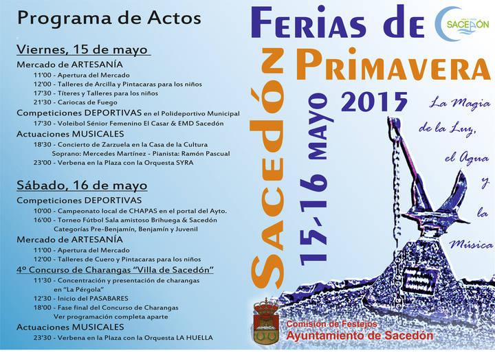 Sacedón se prepara para sentir la magia de la Luz, el Agua y la Música con sus Ferias de Primavera los días 15 y 16