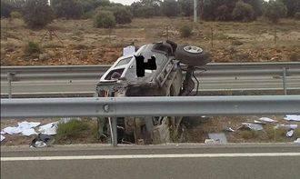 Nueve heridos tras un terrible accidente de tráfico en la A2 a la altura de Alcolea del Pinar