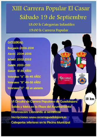 El sábado 19 se celebra la XIII Carrera Popular El Casar