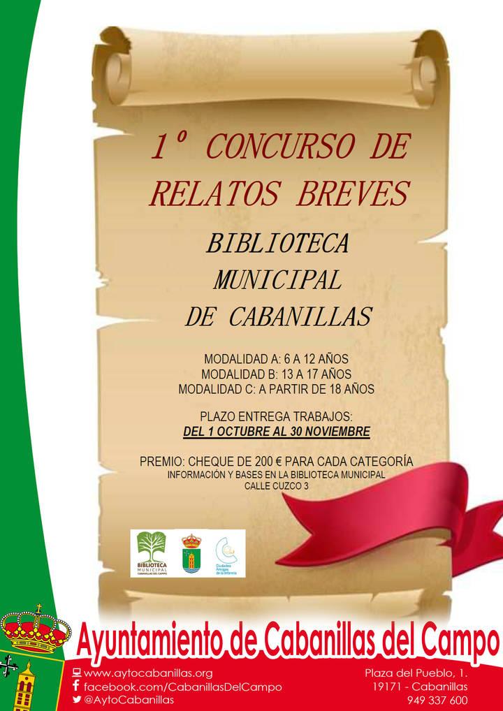 La Biblioteca Municipal de Cabanillas convoca su I Concurso de Relatos Breves
