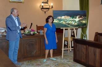 El Ayuntamiento de Sigüenza recibe como regalo un cuadro de La Ronda pintado por Goyi Alguacil