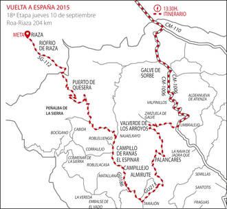 La Vuelta Ciclista a España visita este jueves 10 la Sierra Norte de Guadalajara