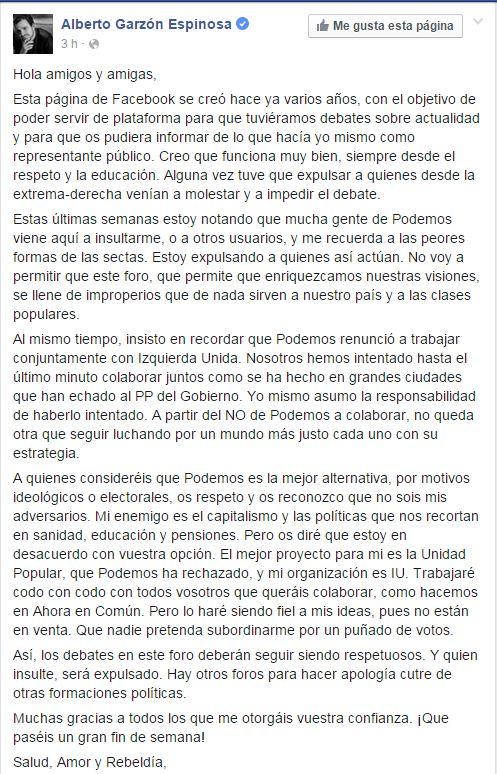 """Alberto Garzón: """"Mucha gente de Podemos me recuerda a la peor forma de las sectas"""""""