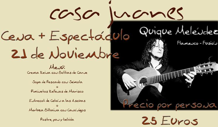 Concierto de Quique Menéndez en Uceda el próximo sábado 21 de noviembre