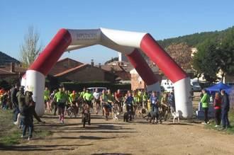 """Javier Ruiz con """"Flash"""" se impuso en la primera prueba VII Circuito de Canicross Diputación de Guadalajara celebrado en Chiloches"""