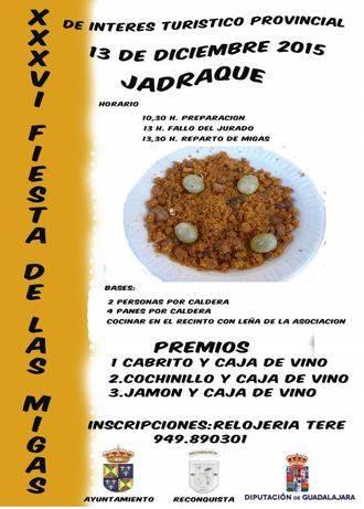 Jadraque celebrará este domingo 13 de diciembre la XXXVI Fiesta de las Migas