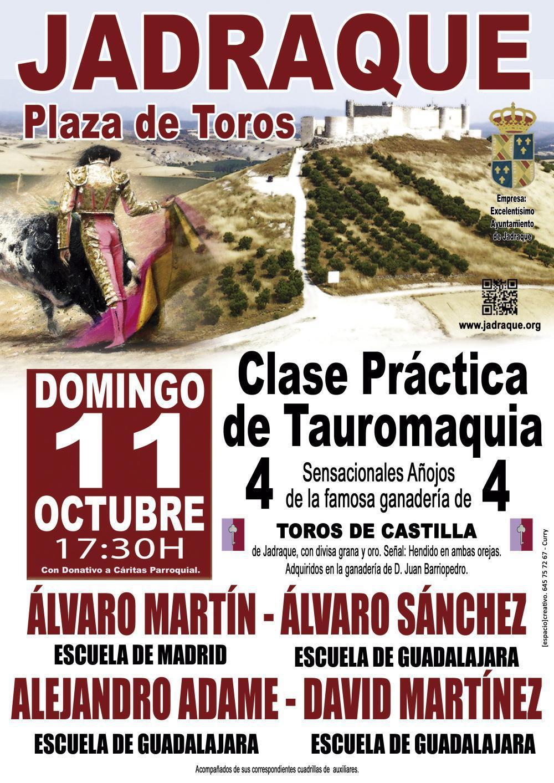 Clase práctica de tauromaquia, el domingo 11 de octubre en Jadraque