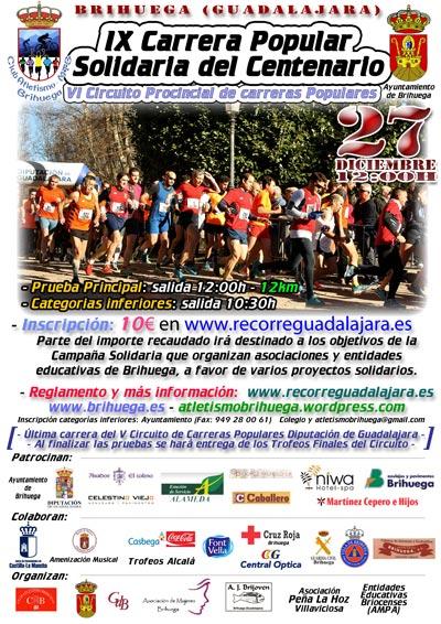 El domingo 27 se celebra en Brihuega la IX Carrera Popular Solidaria del Centenario