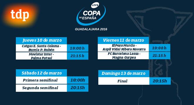 Definidos los horarios de la Copa de España de Fútol Sala Guadalajara 2016