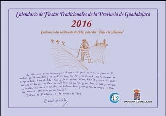 La Diputación edita el calendario de fiestas tradicionales 2016 dedicado al Viaje a la Alcarria de Cela