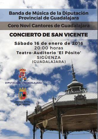 La Banda Provincial y el coro Novi Cantores ofrecerán el próximo 16 en Sigüenza un extraordinario Concierto de San Vicente
