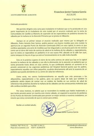 El alcalde de Albacete pide por carta a Page que no suprima los pediatras los sábados por la mañana