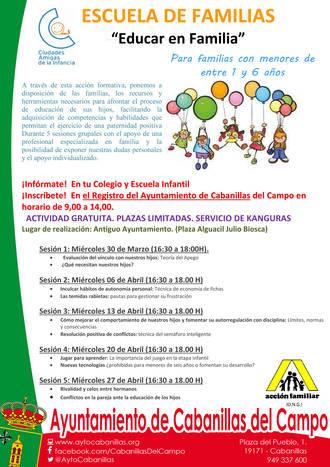 El Ayuntamiento de Cabanillas pone en marcha una nueva edición de su 'Escuela de Familias'