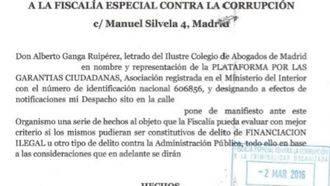 Críticos de Ciudadanos denuncian al partido ante la Fiscalía Anticorrupción por posible financiación ilegal