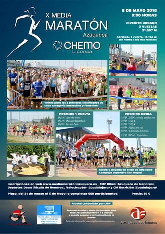 Hasta el 5 de mayo, sigue abierta la inscripción en la Media Maratón Azuqueca Chemo-Liconsa