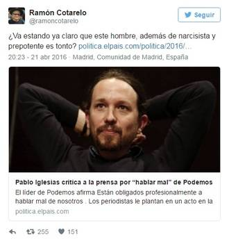 Cotarelo, un antiguo profesor de Pablo Iglesias, le pone fino :