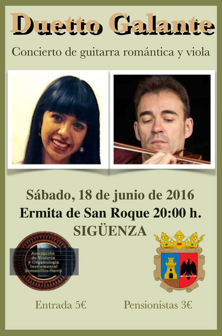 Este sábado, concierto de guitarra romántica y viola en la Ermita de San Roque